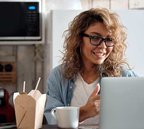 woman ordering food online
