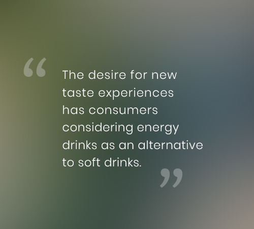 This desire for new taste experiences has consumers considering energy drinks as an alternative to soft drinks.